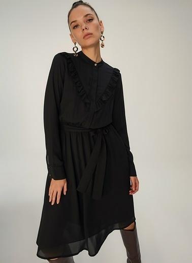 NGSTYLE Fırfır Detaylı Elbise Siyah